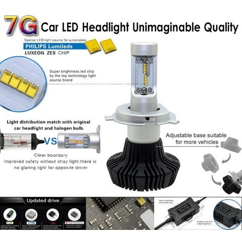 Car LED Headlamp Kit UP-7HL-H8W-4000Lm (H8, 4000 lm, cold white) Preview 2